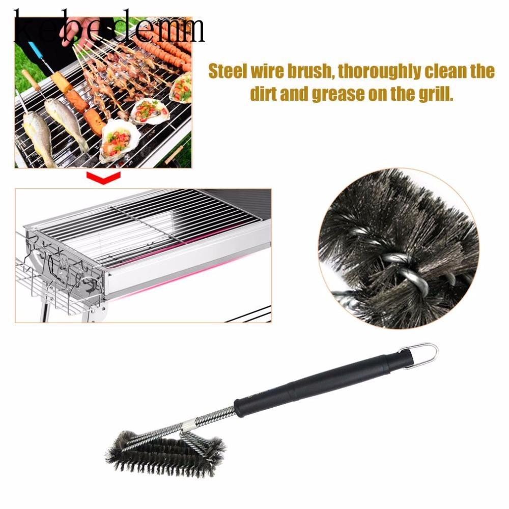 18inch Bbq Barbecue Grill Grates 3 In 1 Stainless Steel Wire Bristles Rugged Cleaning Brushes With Handle