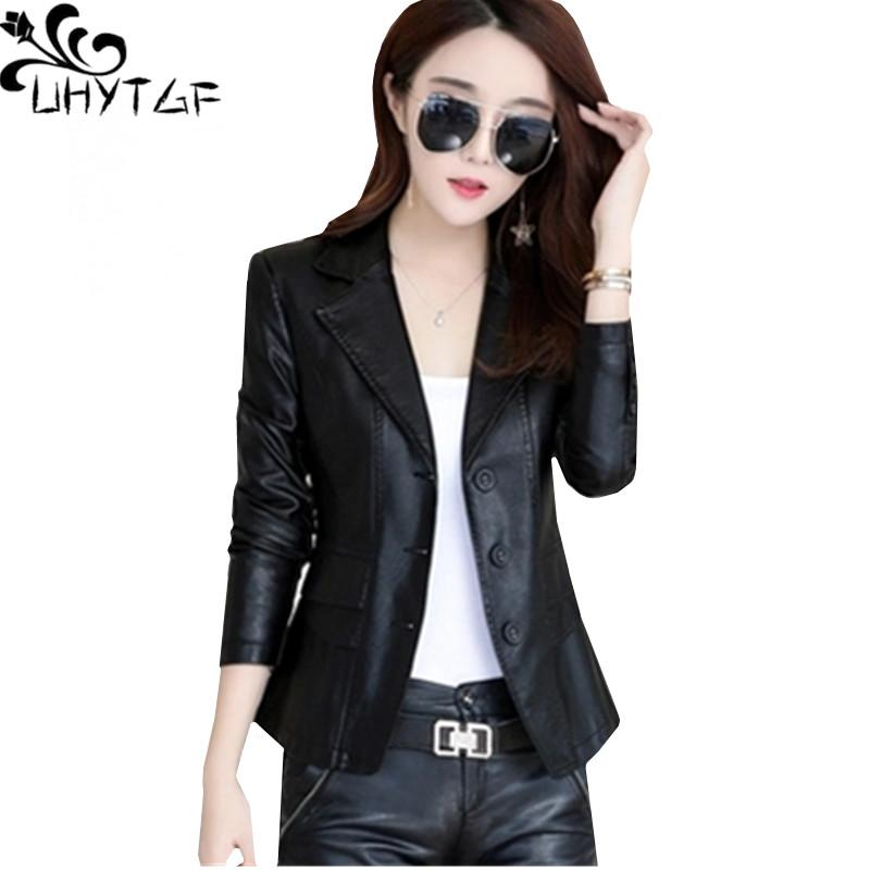 48b6b846f37 2019 UHYTGF M 4XL Plus Size Leather Jacket Women Spring Autumn Short  Outerwear Suit Collar Slim Female Leather Jacket High Quality816 From  Hermanw