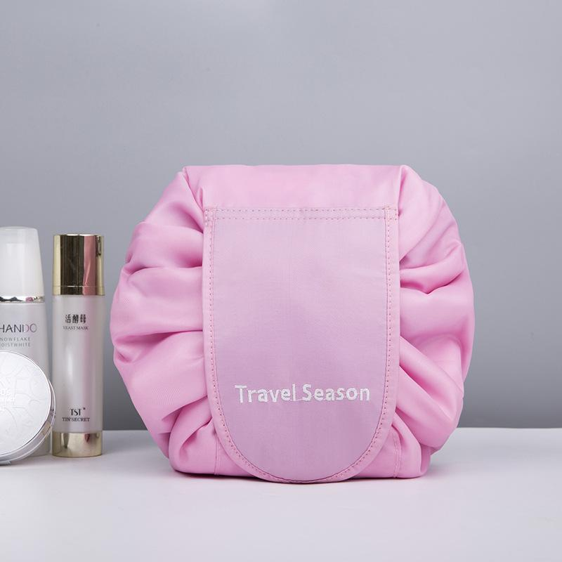 58d57cf0ca Barrel Shaped Travel Cosmetic Bag Make Up Bag Drawstring Elegant Drum Wash  Kit Bags Makeup Organizer Storage Beauty Large Face Products Professional  Makeup ...