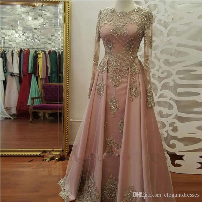 2021 Abiti da sera formali a maniche lunghe le donne indossare le donne indossa la manica lunga in pizzo Appliques cristallo Abiye Dubai Caftatano Musulmani Prom Abiti da festa