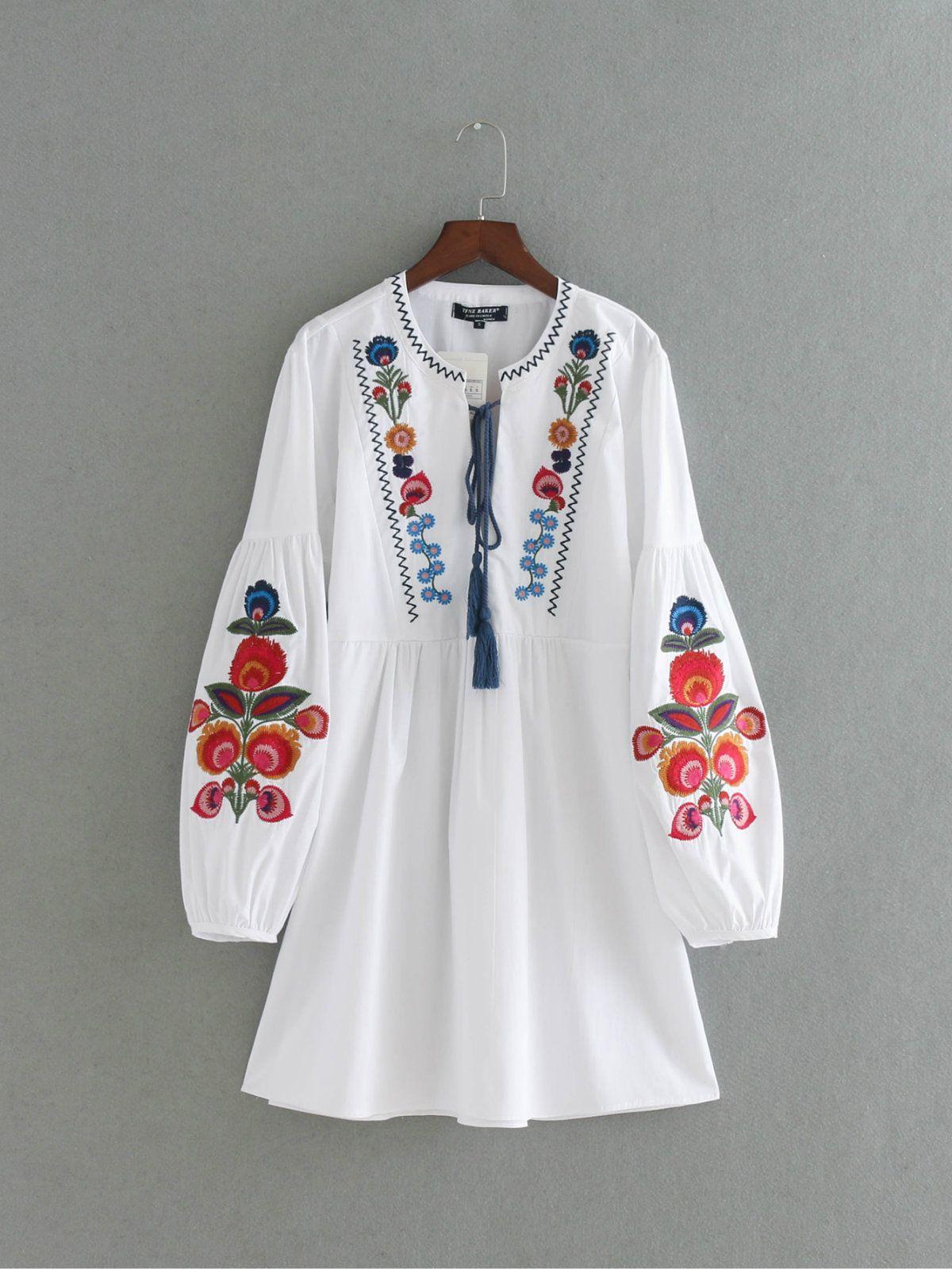 Euro Fashion Boutique Vêtements pour femmes Sexy O-Neck Puff Sleeve Fleur Robe De Broderie Femmes Casual Robes D'été