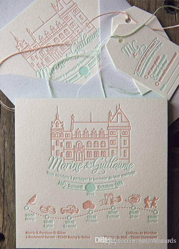 Wedding Invitation Letterpress Wedding Invitation Elegant Custom
