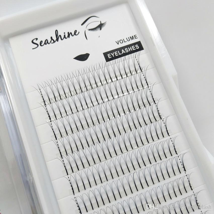 Seashine 3D de tallo largo latigazos de lujo preparado de antemano aficionados Volumen Pestañas Rusia volumen individual de las pestañas Extensiones de Custome Logo envío