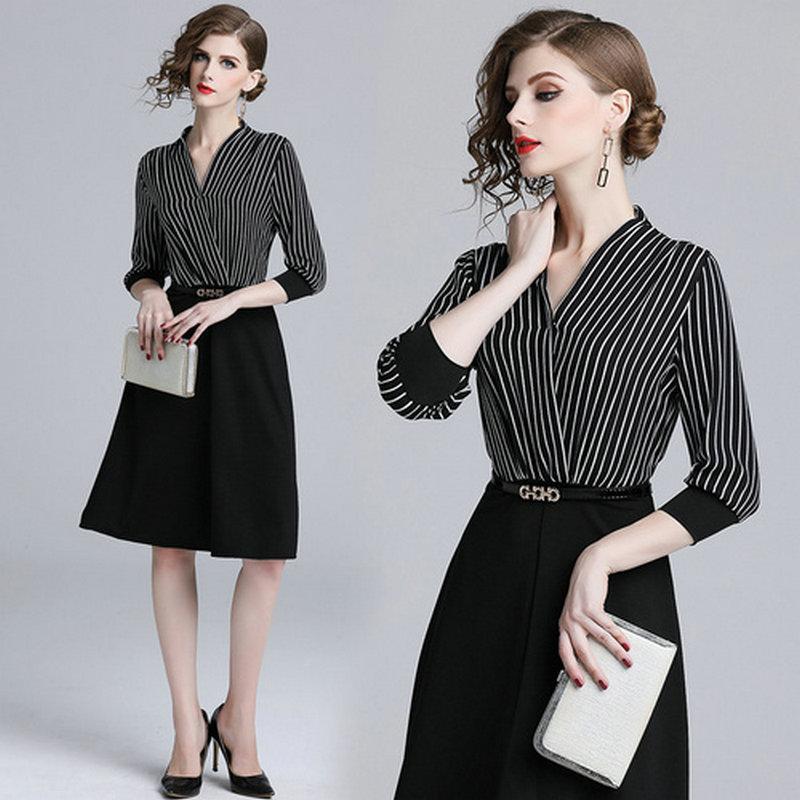2019 Striped Patchwork Womens Dress Autumn Winter Dress Fashion Elegant  Business Office Dresses Dinner Dresses From Top youshanping 4b4e78e2d82d