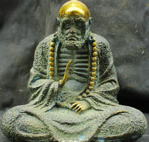 Cinese Fengshui Old Antique Bronze Brass Statue Bodhidharma Buddha Sculpture