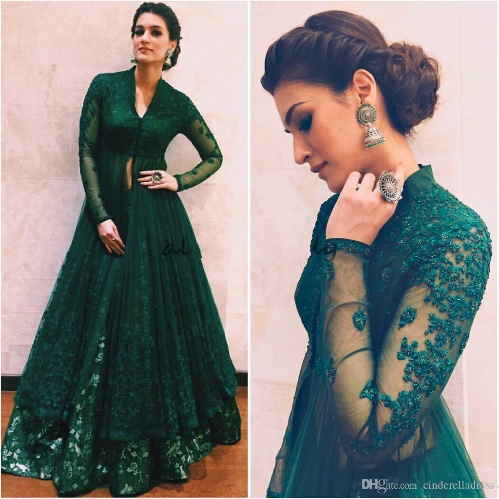 Hunter Green Evening Dresses 2018 With Long Sleeves Beaded Lace Kaftan Abaya Dubai Indian Floor Length V Neck A-Line Prom Gowns