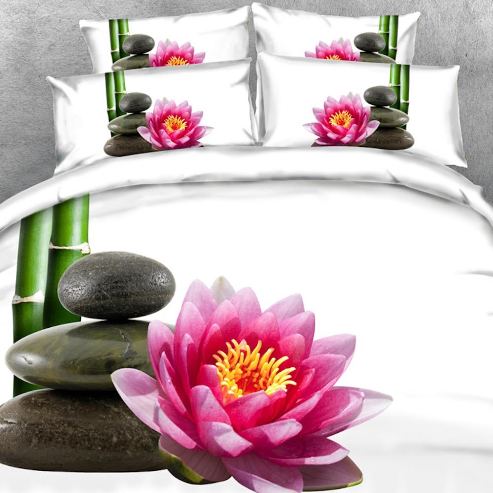Oldeny 3 Parts Set Spa Style Bamboo Lotus Flower And Black Rocks On