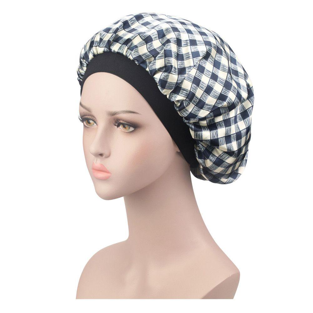 6526e0a821cb5 Compre KLV Sombrero De Satén Para Mujer Sólido Poliéster De Ala Ancha Banda  Para El Cabello Gorra Para Dormir Sombrero Para Quimioterapia Gorro Para El  ...