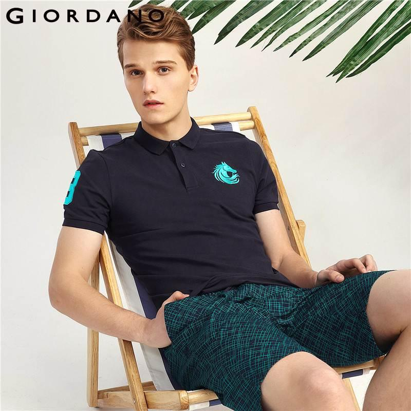 3c2574805480 2019 Giordano Men Polo Shirt Men Short Sleeve Embroidery Polo Shirt Turn  Down Collar Polo Homme Fashion Camisa Polos Masculina From Netecool