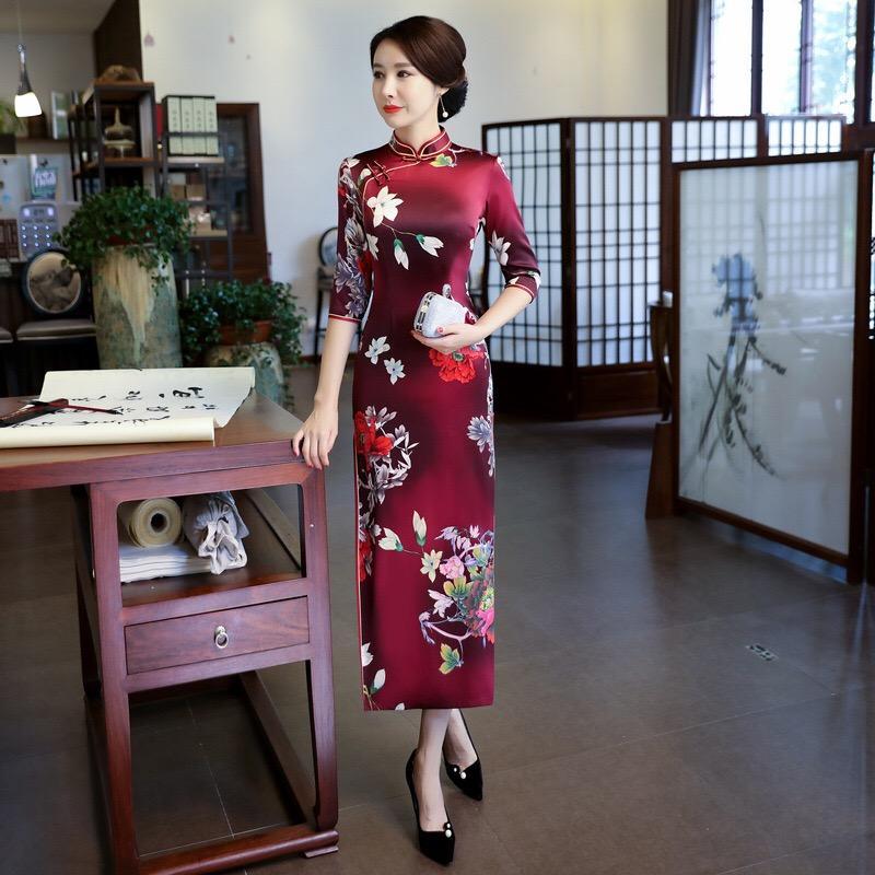 880f8e3dd721d Traditional Chinese Dress female Long Qipao Elegant slim Double Layer Silk  Grosgrain Cheongsam banquet dress women vestidos