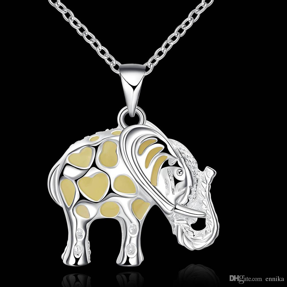 Party Gift 925 Silver Pendant Necklace Lovely fashion elephant night light necklace 46cm Chains Good Quality n017