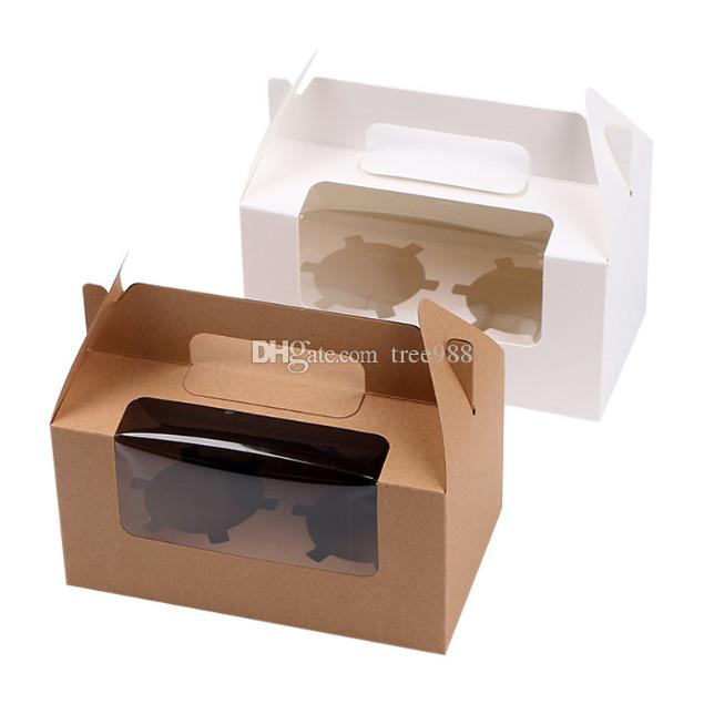 Muffin Packaging Box Kraft Clear Cupcake Packaging Gift Box Hand Window Box Suitable For 2pcs Muffins