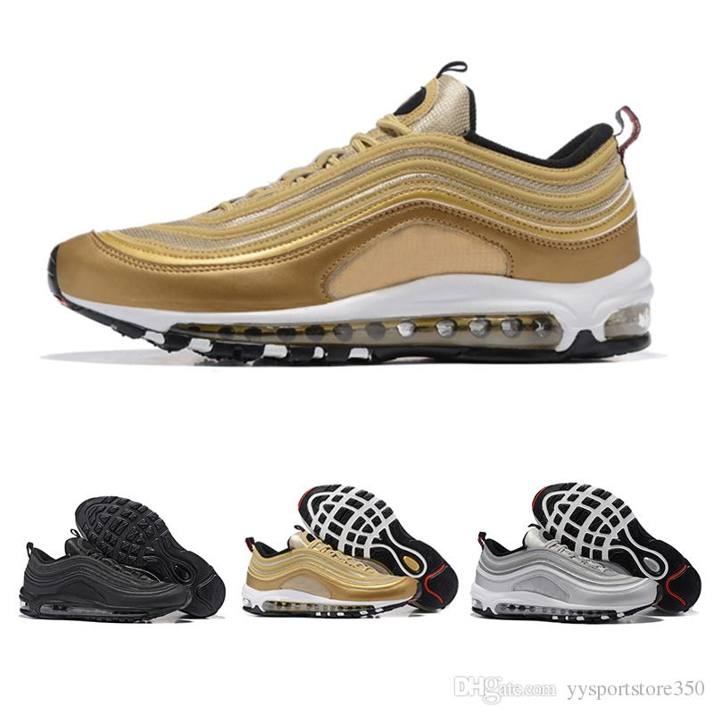 size 40 1f1d9 50dd8 Acquista Nike Air Max 97 Airmax Drop Shipping 97 Scarpe Casual Triple  Bianco Nero Rosa Runnershoe Og Metallic Gold Silver Bullet Men Trainer 97s Sport  Donna ...