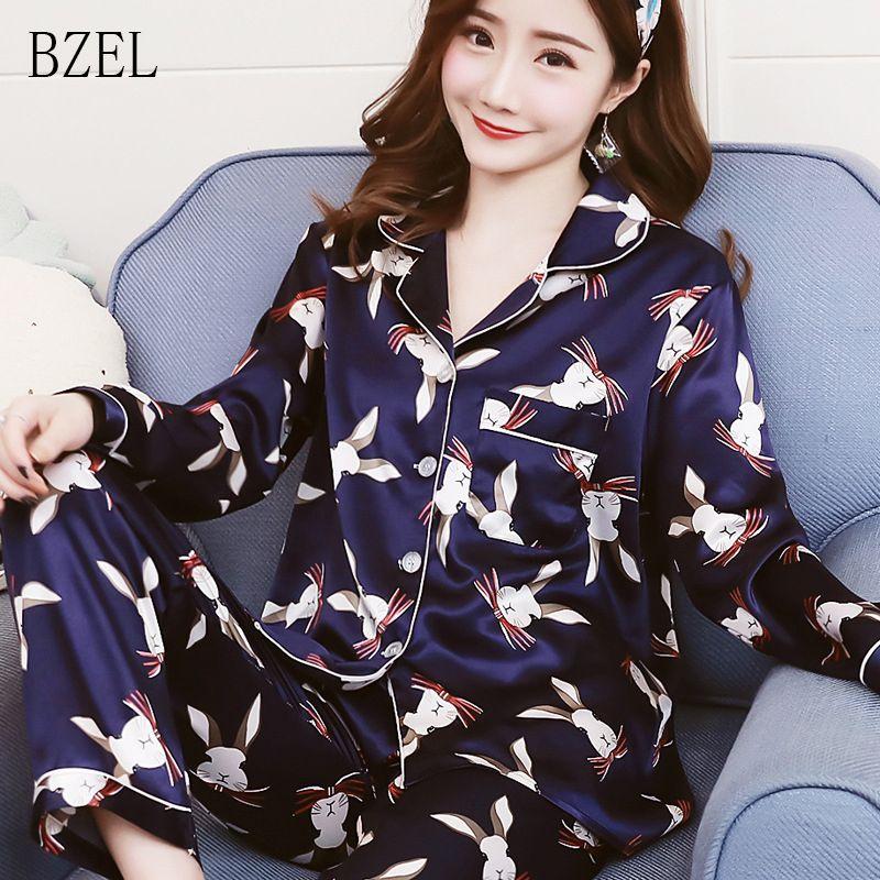 2019 BZEL Women Ladies Sexy Satin Silk Pajamas Sets Long Sleeve Tops+Pants  Sleepwear Mujer Nightwear Turn Down Collar Pyjama Femme From Meetamo 2676a2803