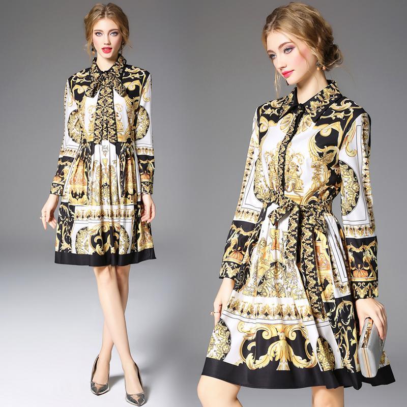 8a01b1fe61 Compre Vestido De Otoño Moda Europea Vendimia Estampado De Oro Nudo De Arco Elegante  Vestido Plisado De Dama A  48.25 Del Clothes zone
