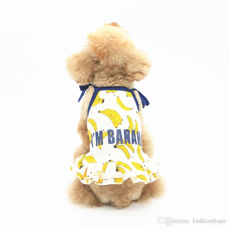 Banane Printed T-Shirts für Hunde Pudel Teddy Welpen Bekleidung Sommer Haustiere T-Shirts Kleine Hunde Katzen Kleider T-Shirts