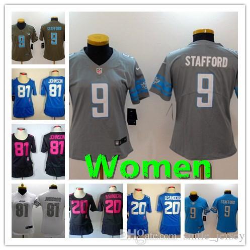 sports shoes 2b083 32bb9 Women 9 Matthew Stafford Detroit Jersey Lions Football Jersey Stitched  Embroidery 20 Barry Sanders 81 Johnson Women Football Shirt