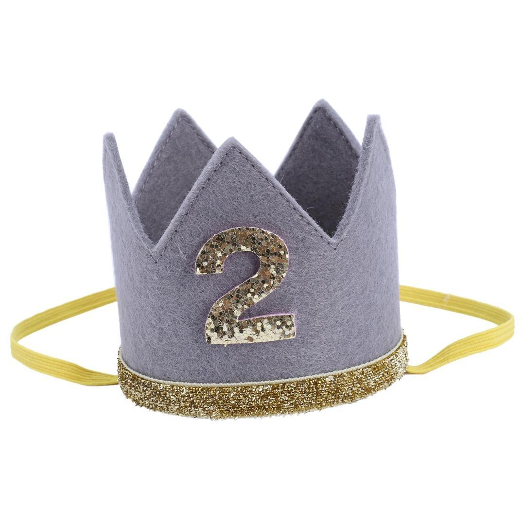 FBIL High Quality Baby Boy Girl First Birthday Hat Crown Numbers Headband Tiara Party Photo Props Gray 2 Dance Hair Accessories Natural