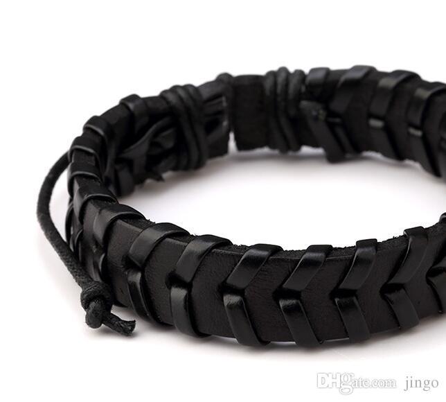 Braided Leather Bracelets for Men Charm Wrap Bangle & Bracelet Fashion Men Jewelry Black Red Adjustable bracelet