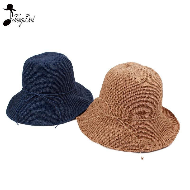 44ec517c3ce Raffia Straw Bucket Hat Women 2018 Summer Sun Hats For Ladies Packable Hats  Crochet Hat Hat World Ladies Hats From Duweiha