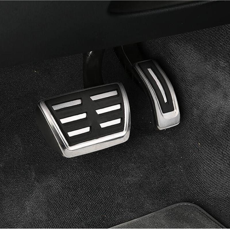 2pcs Stainless steel Accelerator Brake Pedal Decoration Decals for Porsche Cayenne 2018 Car interior accessories Modified