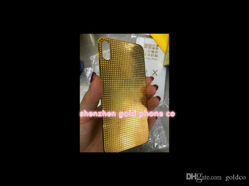 High Quality Housing back replacement For iPhone X Back Cover Without Frame Replacement 24ct gold real gold full diamond
