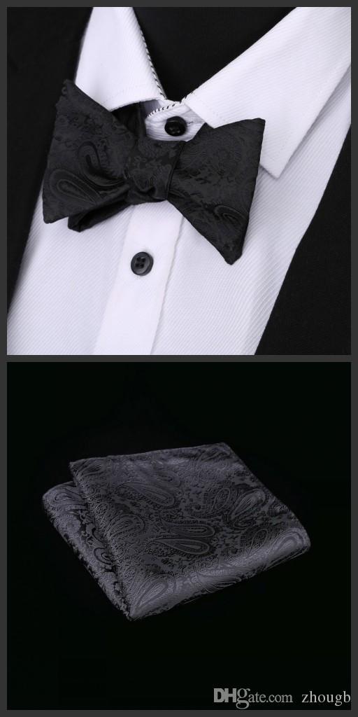 486b67cf2d6c Ikepeibao New Black Mens Self Bow Tie Butterfly Hanky White Paisley  Pajaritas Lazo Noeud Papillon Ascot Bowtie Hombre Suit Wedding Condition Tie  Rack Cravat ...