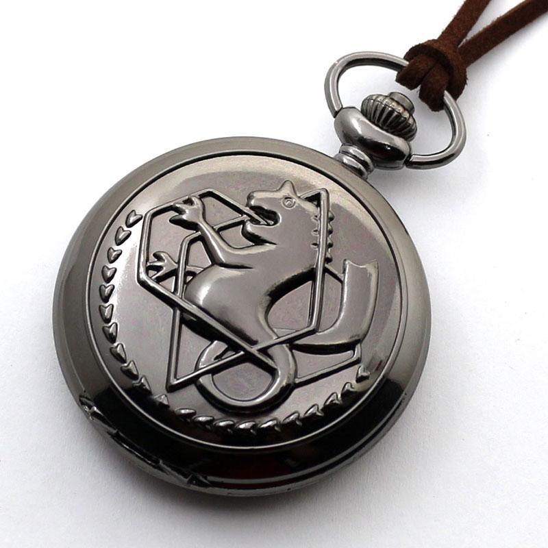 Noir Argent Fullmetal Alchemist Quartz Montre De Poche Collier En Cuir Chaîne Boîte Sac Relogio De Bolso Ensembles De Bijoux Cadeaux