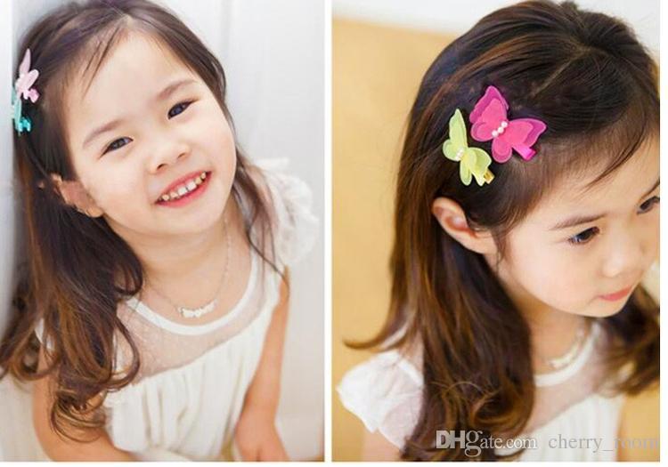 لطيف فراشة الشعر القوس جديد الكورية الأطفال الفتيات المشابك بوتيك الانحناء الشعر القوس اللؤلؤ rainbow اللون الاطفال الشعر الملحقات 7420