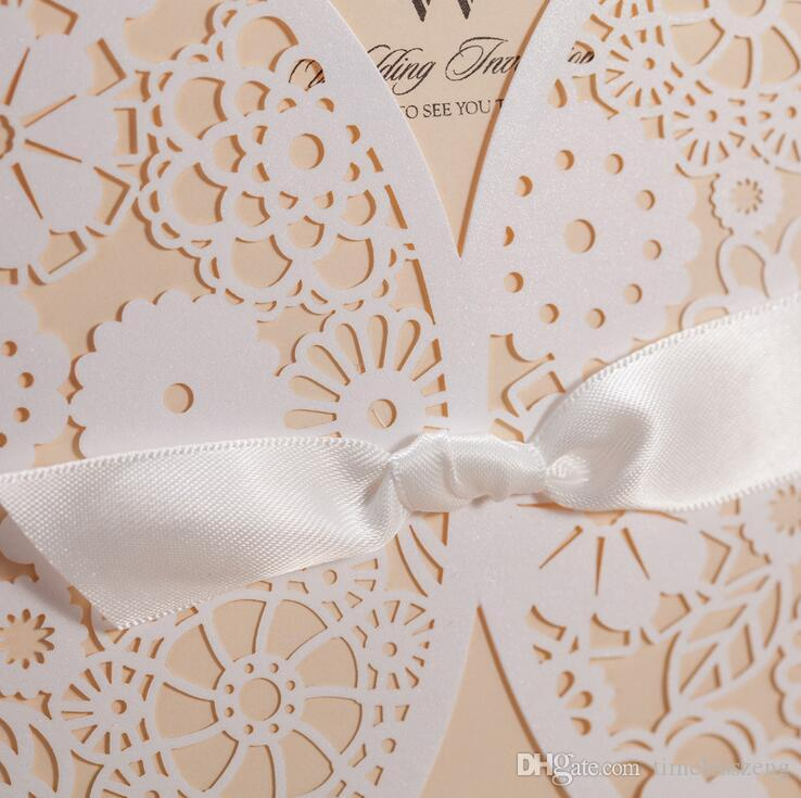 Laser cut White Hollow-out Flowers with Lace Bowknot Creative Wedding Invitation Card With Envelope Printable Customizable