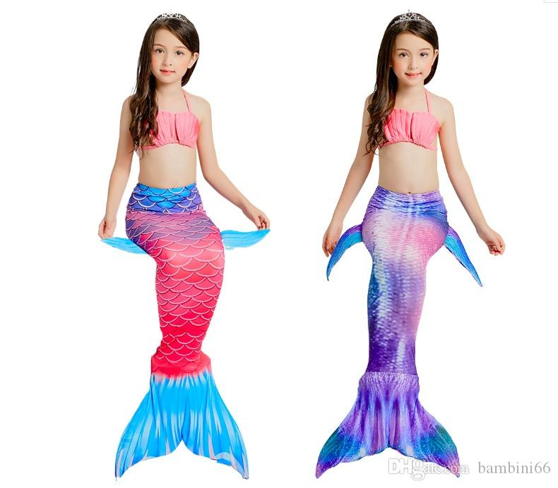 53443f16632d9 2019 Summer Baby Girl Bikini Set Mermaid Tails Princess Bathing Suit ...