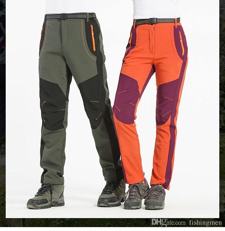 2018 New Winter Men Women Hiking Pants Outdoor Softshell Trousers