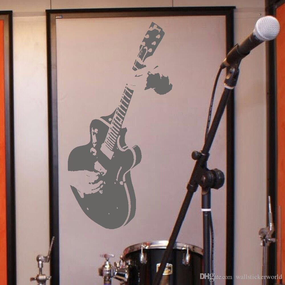LARGE GUITAR GUITARIST WALL ART DECAL MURAL STICKER STENCIL VINYL CUT TRANSFER LIVING ROOM HOME DECOR