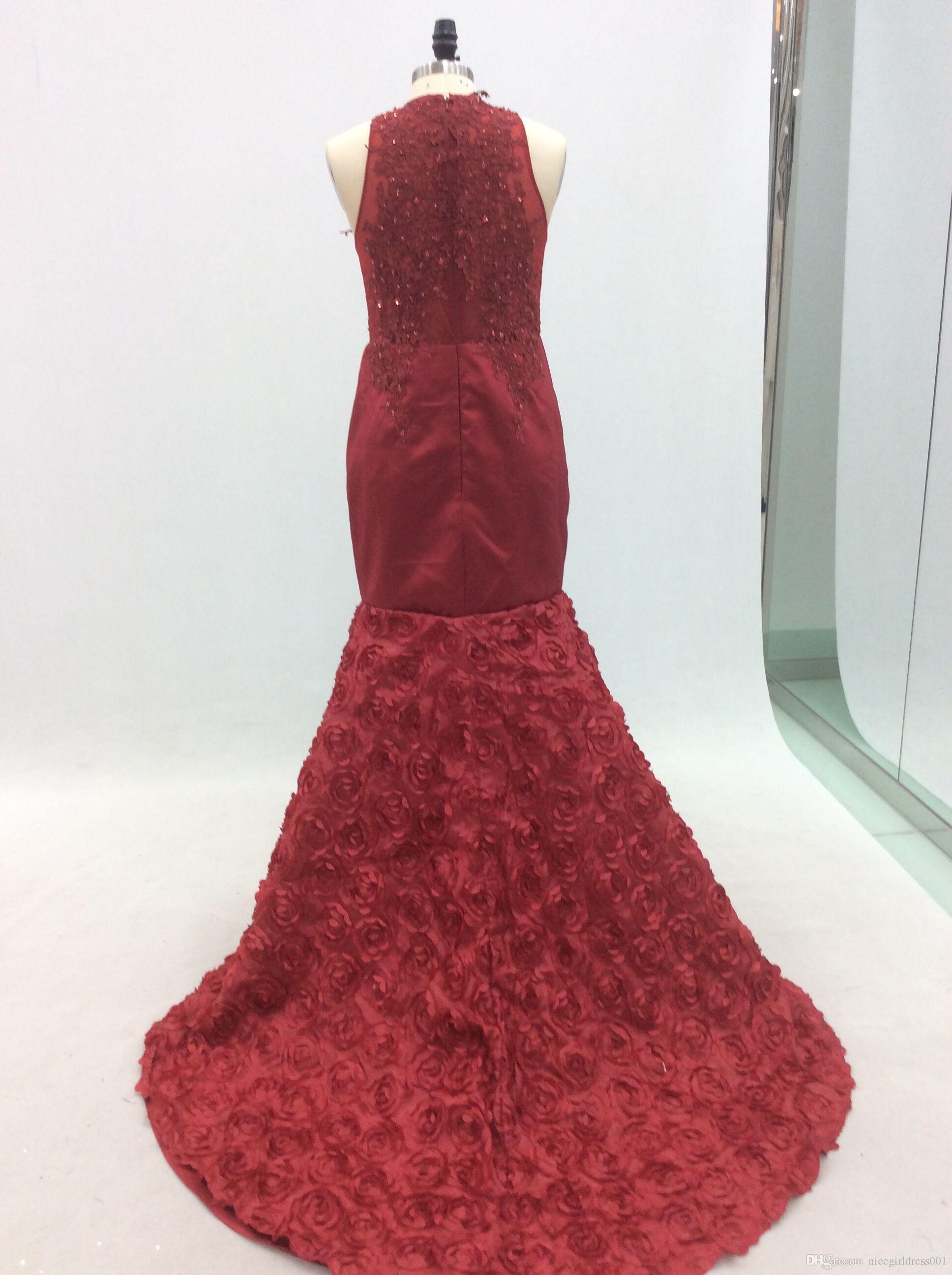 O Neck Dark Red Prom Kleider 2018 Neue Ankunft Perlen Echte Fotos Reißverschluss Bodenlangen Kleid Abendgarderobe Party Kleid Plus Größe