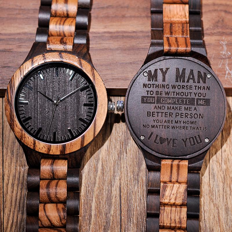 engraved wooden watch personalized watches gifts for dad lover s