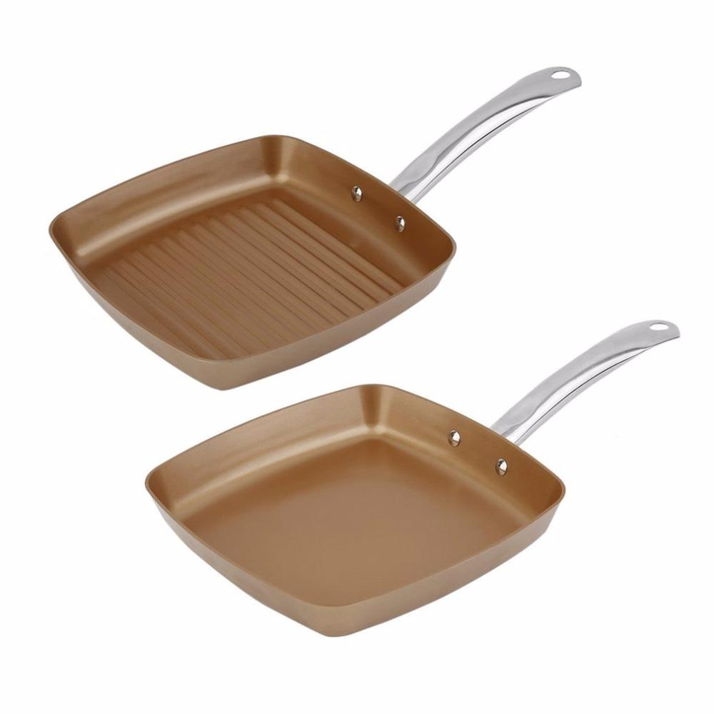 2pcs Copper Coating Bottom Frying Pans Non -Stick Square Grill Pan Multifunction Cookware Set Kitchen Cooking Tools