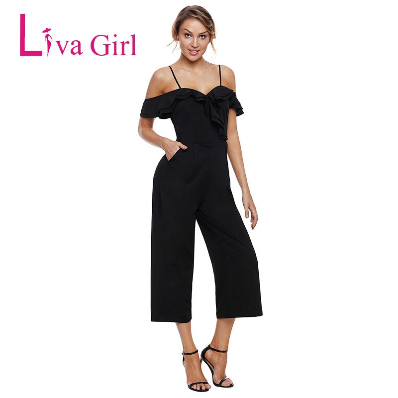 75414d8de002 Liva Girl Women Slash Neck Sexy Jumpsuit with Pockets Black Off The ...