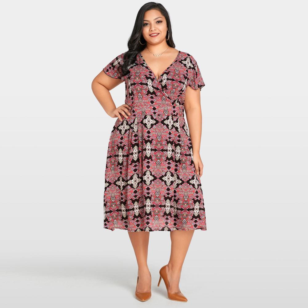 Acquista Taglie Forti Abbigliamento Donna Sexy Scollo A V Vintage Floral  Print Manica Corta Dress Elegante Slim Large Dress Vestidos De Verano A   35.3 Dal ... 06a6190a2ab