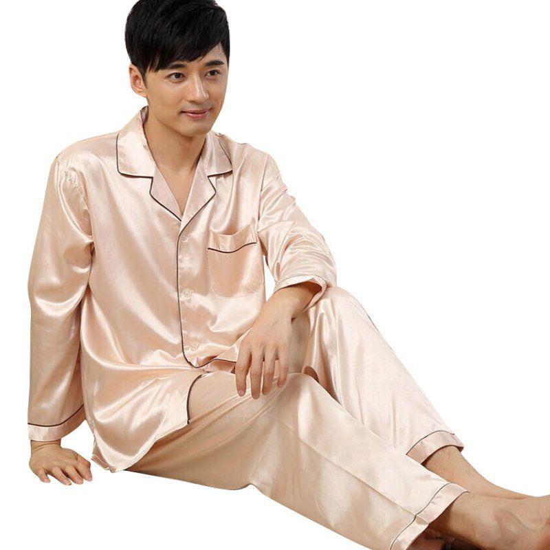 e67ddce2ce 2019 Mens Autumn Winter Soft Silk Satin Sleepwear Loungwear Robes Pajamas  Pyjamas Set Newest From Bunnier