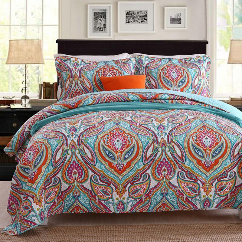 Bedspreads.Quality Cotton Bedspread Quilt Set 3pcs Quilted Coverlet Quilts Bed Covers Pillowcase King Queen Size 230x250cm Bedding Blanket