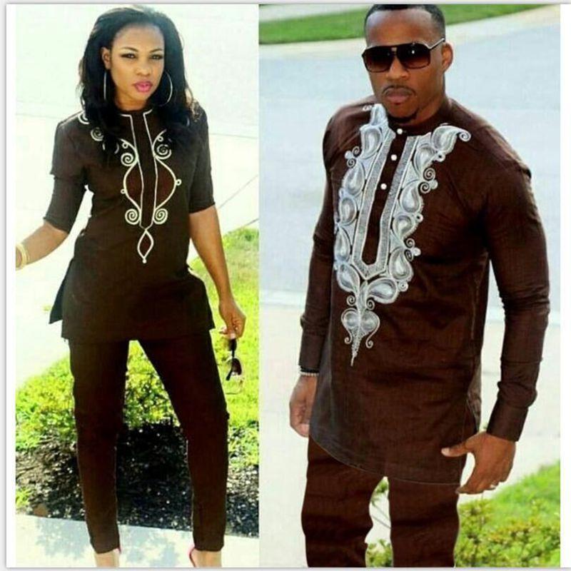 Compre HD 2018 Pareja Africana Vestido Trajes Africanos Para Mujer Y Hombre  Riche Diseño De Bordado Dashiki Camisa Pantalón Traje Traje Ropa A  33.71  Del ... 0e17103b4303