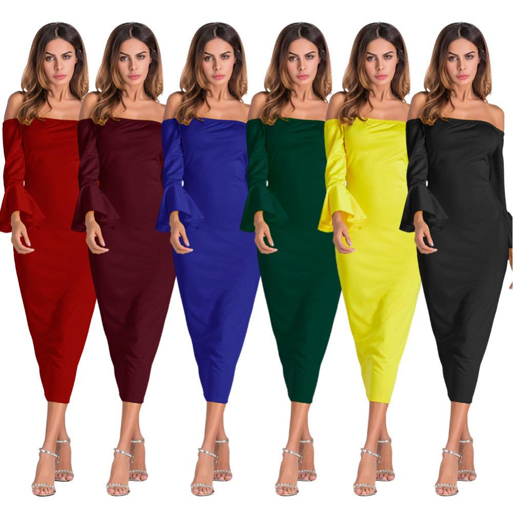 ade4afc8d26e 2019 New Off Shoulder Midi Dress 2019 Autumn Slash Neck Flare Sleeve  Bodycon Black Blue Red Elegant Sexy Women Party Dresses Pink Dress Sundress  From ...