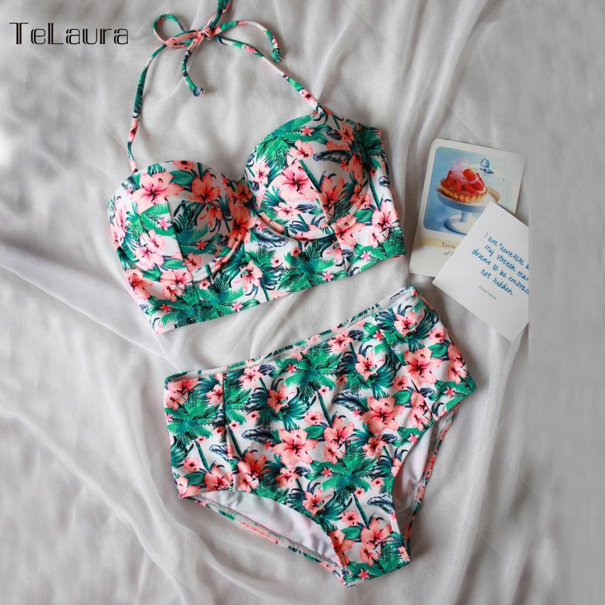 38f9bc7ee9c1 Compre Sexy Floral Imprimir Cintura Alta Swimsuit 2018 Biquíni Push Up  Swimwear Mulheres Biquini Do Vintage Maiô Maillot De Bain Femme XXL De  Ppkk, ...