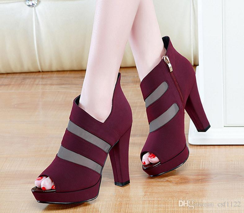 2018 summer new gauze rough with Roman women's sandals women's high with fish mouth shoes tide mom and womens shoes
