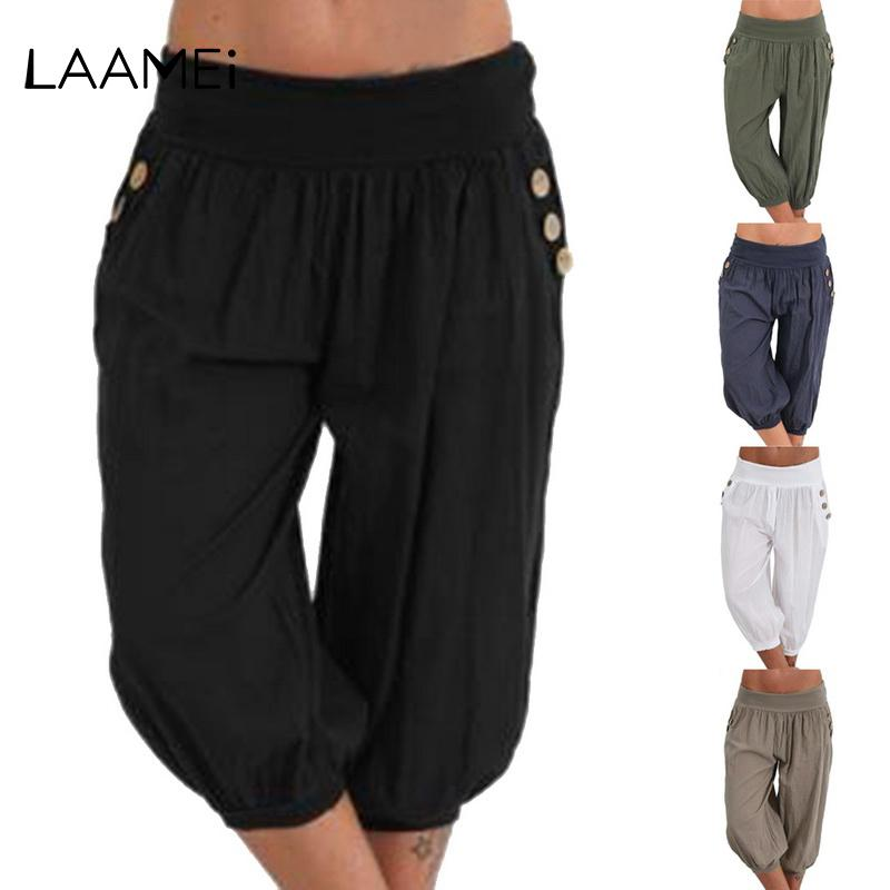 86a21937638e2 2019 Laamei Plus Size Women Pants Half Short Capris Brand New Harem Pant  2018 Casual Bottoms Elastic Vintage Fat MM Loose Trousers From Lichee666