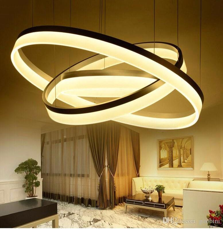 gro handel moderne led ring pendelleuchten acryl chandlier f r wohnzimmer esszimmer beleuchtung. Black Bedroom Furniture Sets. Home Design Ideas