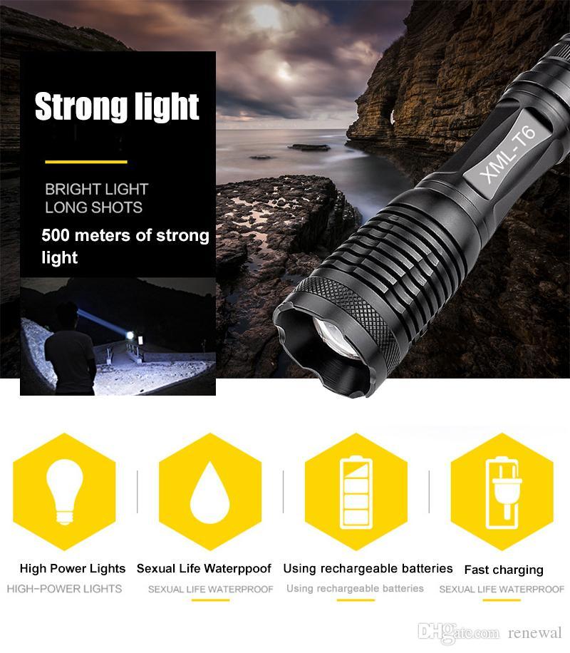 DHL CREE XML-T6 фонарик 5000 люмен свет велосипеда 5modes факел Масштабируемые светодиодный фонарик +18650 батарея + зарядное устройство