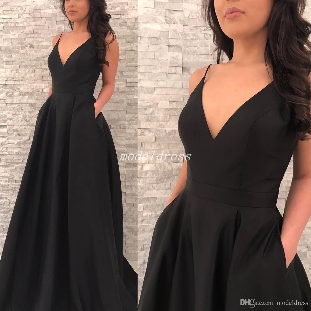2018 Black Simple Prom Dresses V Neck Backless Pockets Sweep Train Long Formal Evening Party Gowns Abiti Da Ballo Special Occasion Dress