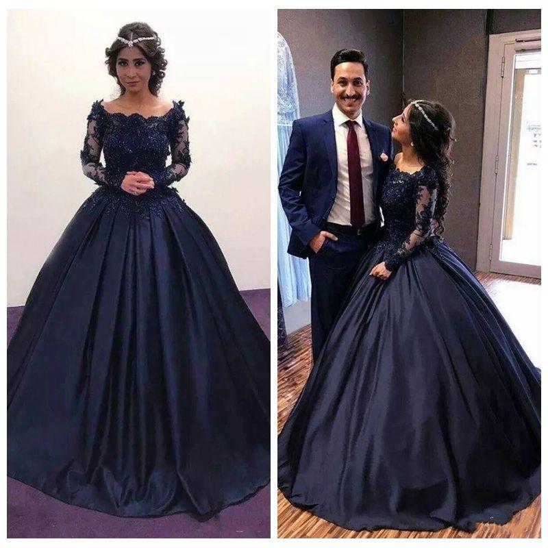 51d479d88 Compre 2019 Otoño Invierno Azul Marino Manga Larga Vestidos De Quinceañera  Apliques De Encaje Mascarada Vestido De Fiesta Vestido Formal Africano  Vestidos ...