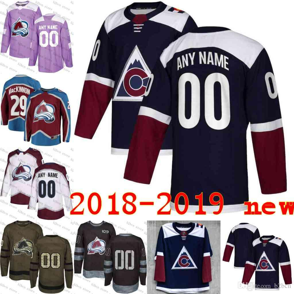 67c911968 2018 -2019 Navy Alternate NEW Custom Colorado Avalanche Hockey ...